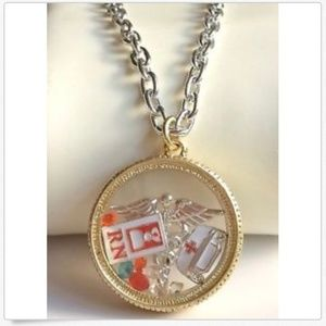 Gold Nursing RN Caduceus Memory Locket Necklace